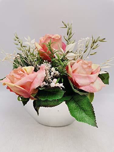 Trauergesteck Grabgesteck Grabschmuck Kunstblumengesteck Rosen Gräser rosa