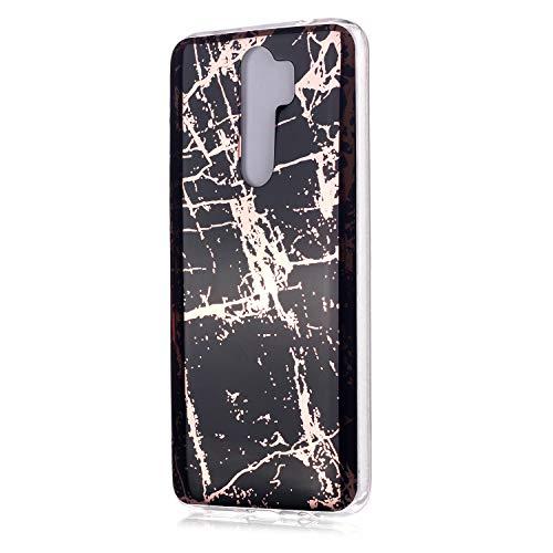 Fatcatparadise Funda para Redmi Note 8 Pro [con Protector Pantalla], Carcasa Silicona Mármol Protector TPU Suave Anti-Choque Ultra-Delgado Funda para Xiaomi Redmi Note 8 Pro(Oro Negro)
