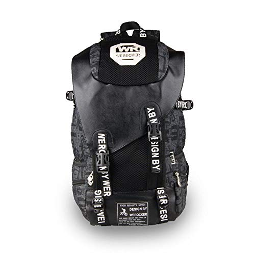 LCLZ Men And Women Graffiti Printed Black Backpack PU Leather And Canvas Stitching Travel Sports Backpack Tide Outdoor Mountaineering Bag Riding Bag Large Capacity