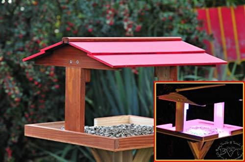 Vogelhaus,Futterhaus mit Ständer,DACH ROT,MIT Beleuchtung,LED-Licht / Vogelhaus,wetterfest IN (TEAK) DUNKELBRAUN,belHI-VIERDAROT-BEL-dbraun002 groß, PREMIUM Vogelhaus KOMPLETT mit Ständer,WETTERFEST, Holz Vogelhaus,MIT,Vogelfutter-Station Farbe braun dunkelbraun schokobraun rustikal klassisch,Ausführung Naturholz MIT WETTERSCHUTZ-DACH für trockenes Futter - 4