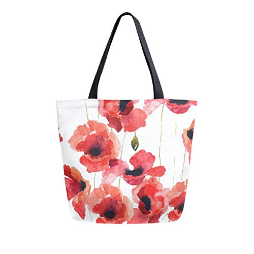 Naanle Poppy Flowers Canvas Tote Bag Large Women Casual Shoulder Bag Handbag, Watercolor Poppy Reusable Multipurpose Heavy Duty Shopping Grocery Cotton Bag for Outdoors.