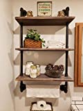 Industrial Pipe Shelf,Rustic Wall Shelf with Towel Bar,24' Towel Racks for Bathroom, 3-Layer Pipe Shelves Wood Shelf Shelving (3-Layer)