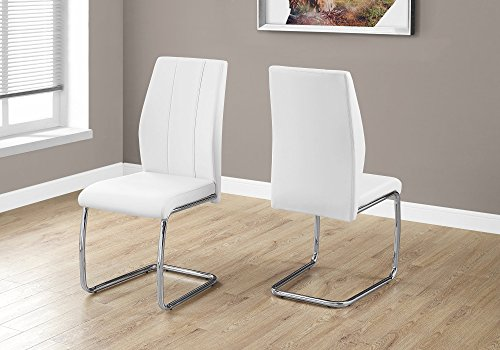 Monarch Specialties 2 Piece DINING CHAIR-2PCS/ 39' H/WHITE LEATHER-LOOK/CHROME, 17.25' L x 20.25' D x 38.75' H