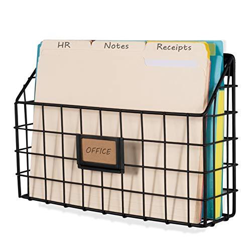 Wall35 Rivista Multipurpose Wall Mounted Farmhouse Design Basket - Wide Magazine Rack Metal Wire (Black)