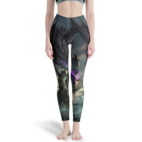 XJJ88 Sport Leggings Purple Dragon Damen Seamless Butt Lifting - Workout Pants für Gym M weiß