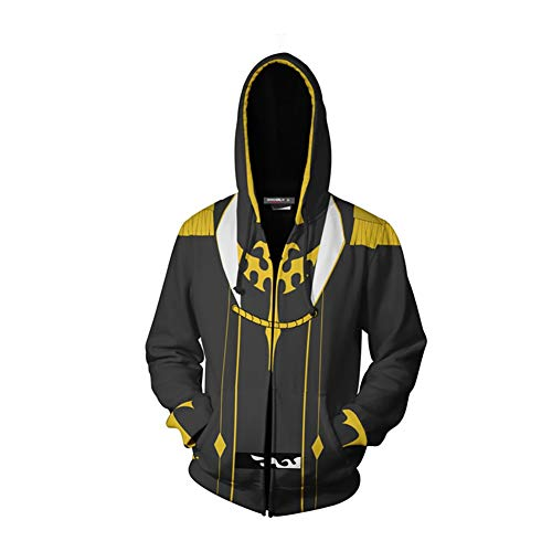 Code Geass - Lelouch Rouge Hoodie, Anime 3D-Druck T-Shirt Zipper-Jacke (Color : Black, Size : XXL)