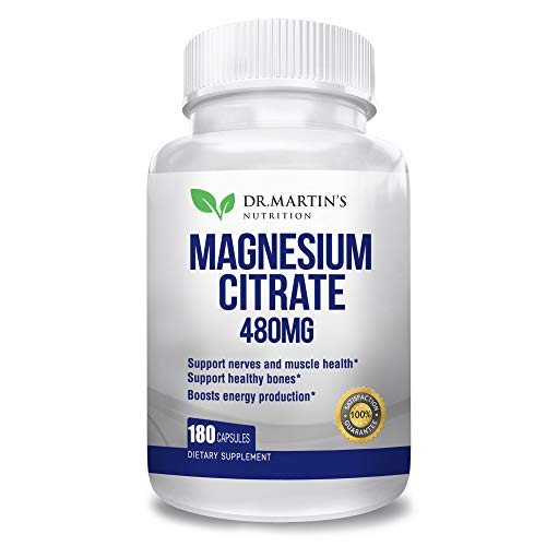 Premium Magnesium Citrate 480mg - 180 Vegan Capsules   Easy Absorbable   High Potency Capsules   Helps with Stress Relief, Sleep, Muscle Cramps, Healthy Bones & Healthy Heart   Gluten Free
