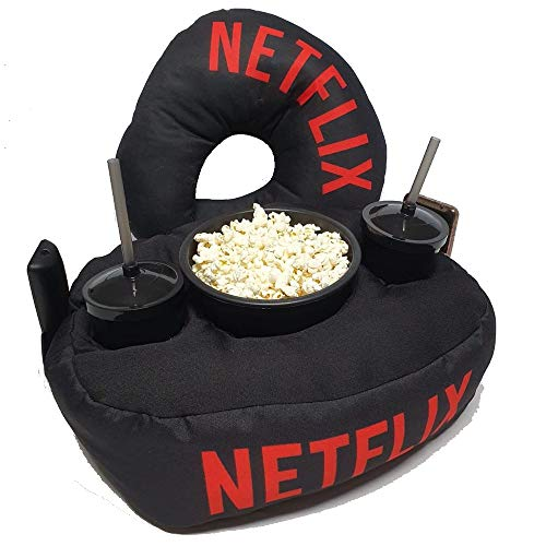 Kit Almofada Porta pipoca Netflix, Balde e 2 copos e Almofada Pescoço Viagem