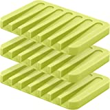 Anwenk Soap Dish Waterfall Soap Saver Soap Tray Soap Holder Drainer for Shower/Bathroom/Kitchen/Counter Top, Keep Soap Bars Dry & Clean,Easy Cleaning, Flexible Silicone-Green,3 Pack