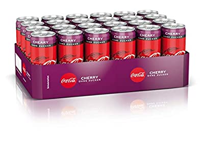 Coca-Cola Zero Sugar Cherry / Fruchtiges Erfrischungsgetränk ohne Zucker in coolen Dosen mit originalen Kirschgeschmack / 24 x 330 ml Einweg Dose