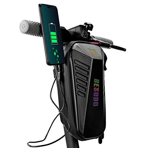 Besudo Bolsa para manillar de scooter E impermeable, bolsa para ruedas de 3 litros, bolsa de almacenamiento scooter eléctrico como E Roller candado cargador Xiaomi MI Mijia M365 Sedway Ninebot – 3 L