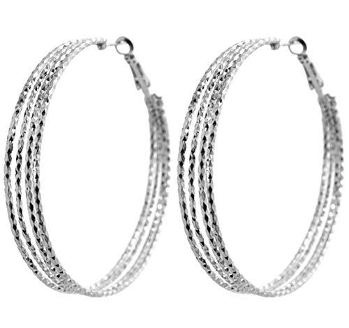 2LIVEfor Silberne Ohrringe Creolen Silber Breit Hoop Earrings Ohrhänger Reifen Hoops Creolen Groß Riesig Rund Schlicht Modern Glitzer Effekt
