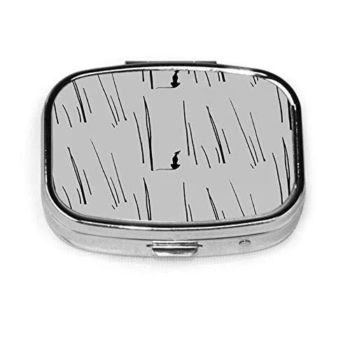 Caja de pastillas cuadrada plateada de moda personalizada, estuche organizador de billetera con soporte para tableta para bolsillo o bolso, galgo negro en espera