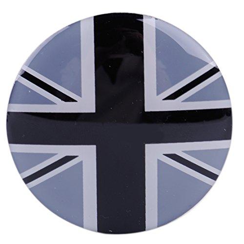 CITALL Gris UK Drapeau Roue Centre Hub Hub Badge Emblème Autocollant pour Mini Cooper 4 pcs 52mm