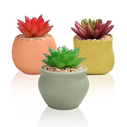 AmzKoi Plantas Artificiales Suculentas, 3 Pcs Planta Artificial Pequeña, Interior y Exterior de Suculentas con Macetas, Cactus Artificiales Decoracion Hogar Moderno de Mesa Hogar Balcón Oficina