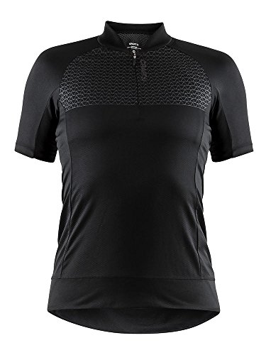 Craft Sportswear Women's Rise Bike and Cycling Training 1/4 Zip Short Sleeve Jersey: Protective/Riding/Compression/Cooling, Black, X-Large