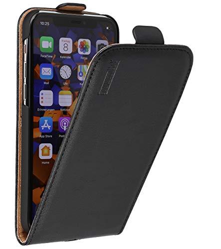 mumbi Echt Leder Flip Hülle kompatibel mit iPhone 11 Pro Hülle Leder Tasche Hülle Wallet, schwarz
