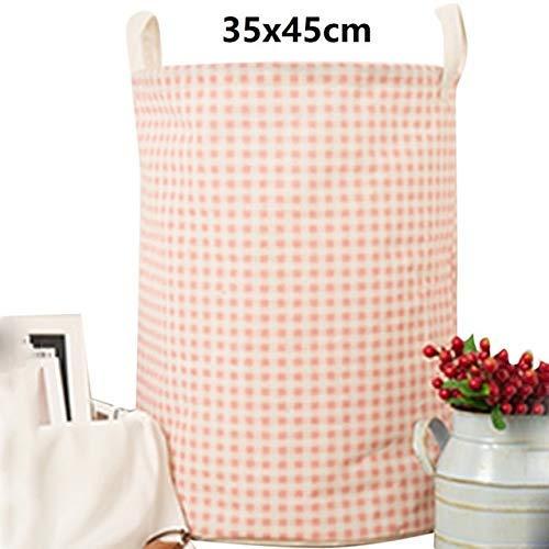 Cxjff 1pc algodón y Lino Recogida de Polvo Cubo Cesto Juguete Lavado de Ropa Sucia cestas de Almacenamiento Organizador de lavandería Bin 35x45cm - F1 35x45cm, a3