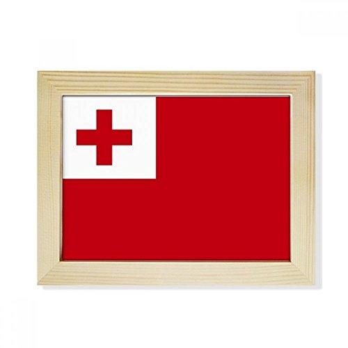 DIYthinker Tonga National Flagge Ozeanien Land Desktop-HÖlz-Bilderrahmen Fotokunst-Malerei Passend 15.2 x 20.2cm (6 x 8 Zoll) Bild Mehrfarbig