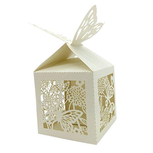 25x Boîte à dragées Cage avec ruban Oiseaux Coeur nacré blanc rose beige ivoire