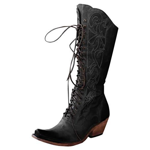 WHSHINE Damen Vintage Kniehohe Cowboystiefel, Breite Wadenschnürung Blockabsatz Lederreitstiefel