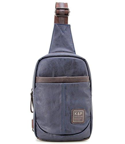 FreeMaster da uomo, in pelle sintetica, stile Vintage-Borsa a spalla, zaino da torace tracolla, per la scuola, con zaino, Messenger Bags