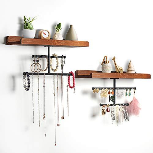 TJ.MOREE - Estante y organizador de joyería de pared, repisa de madera y soporte de metal para collares, pendientes, pulseras y anillos, estilo rústico, juego de 2, color marrón