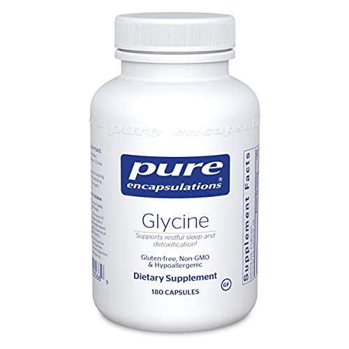 Pure Encapsulations Glycine   Amino Acid Supplement for Liver and Body Detox, Kidney Support, Brain, Nervous System, and Stress Reduction*   180 Capsules
