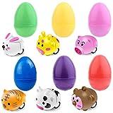 Neusky 12 uova di Pasqua da riempire, con 12 mini cartoon a forma di animali di Pasqua, accessori per feste (auto con modalità retrattile, 12)