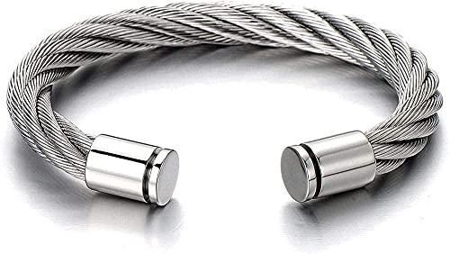 Aluyouqi Co.,ltd Collar Pulsera Elástica Grande De Acero Ajustable con Brazalete De Cable Trenzado para Hombres Mujeres Color Plateado