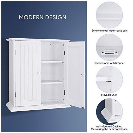 Choochoo Bathroom Wall Cabinet Over The Toilet Space Saver Storage Cabinet Medicine Cabinet With 2 Door And Adjustable