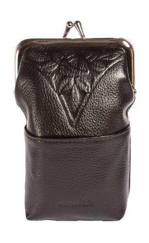 WalletBe Women's Premium Leather Cigarette Case & Clutch Wallet, with Wristlet Black