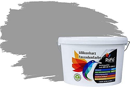 RyFo Colors Silikonharz Fassadenfarbe Lotuseffekt Trend Signalgrau 10l - bunte Fassadenfarbe, weitere Grau Farbtöne und Größen erhältlich, Deckkraft Klasse 1