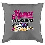 Muttertagsgeschenk Kissen - Mamas Schnarchecke - schwarz/Fuchsia - Unisize - Grau - Kissen zum...