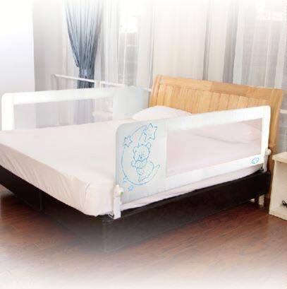 Barrera de cama nido para bebé, 180 x 66 cm. Modelo osito y luna azul. Barrera de seguridad. Sello de calidad SGS.