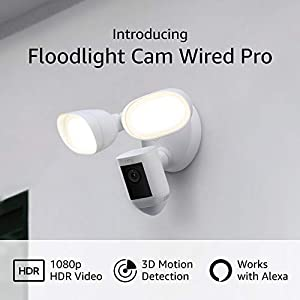 Introducing Ring Floodlight Cam Wired Pro with Bird's Eye View and 3D Motion Detection (2021 release), White
