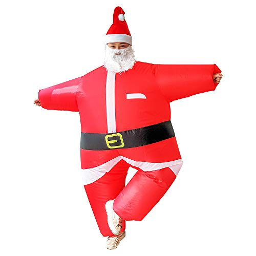 Inflatable Christmas Santa Claus Suit, Funny Blow Up Christmas Costumes Suit, Unisex Adult Fancy Cosplay Party Costume with Beard and Hat