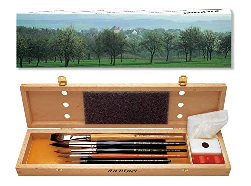 da Vinci Watercolor Series 5240 Deluxe Paint Brush Set, Natural Hair and Synthetic with Wooden Storage Box and Brush Soap, Multiple Sizes, 5 Brushes (Series 36, 991, 5530, 5550)