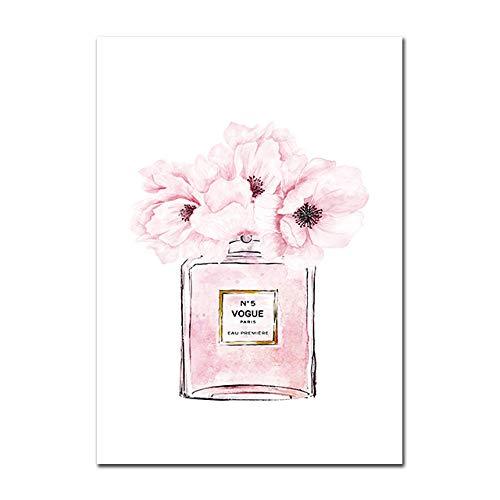 Moda Rosa Floral Perfume Póster Rosa Perfume Botella Minimalista Lienzo Pintura Sala de Estar Hogar Vogue Decoracion Pared Arte Rosa Perfume Poster 50x70cmx1 Sin Marco