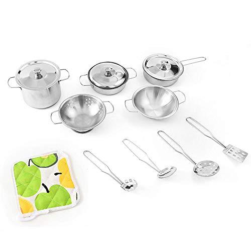 willkey Juego de utensilios de cocina para niños, accesorios de cocina para niños, ollas, sartenes, cucharas, cucharas, cucharas, utensilios de cocina, juguetes, vajilla como regalo de Navidad