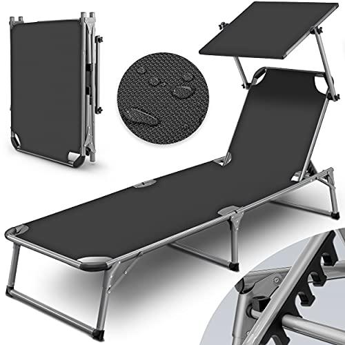 tillvex Sonnenliege mit Dach | Gartenliege klappbar | Liegestuhl mit 6-Fach Verstellbarer Rückenlehne und Tragegriff (Grau)