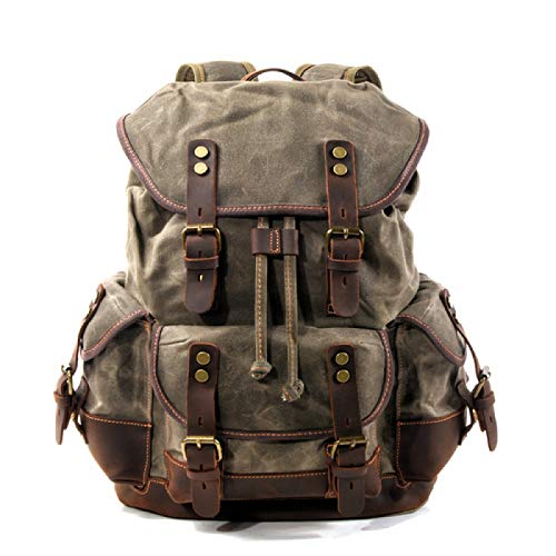 Cotton Oil Wax Canvas Backpack Mens Large Capacity Vintage Waterproof Backpack 15 Laptops Daypacks Rivets bookbag(Army Green)