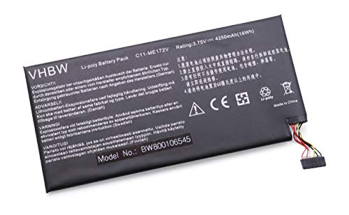 Batterie vhbw 4250mAh (3.75V) pour Pad Netbook Tablette ASUS K004, ME172, ME172-GY08, ME172V, ME371, ME371MG, MeMO Pad ME172 comme C11-ME172V.