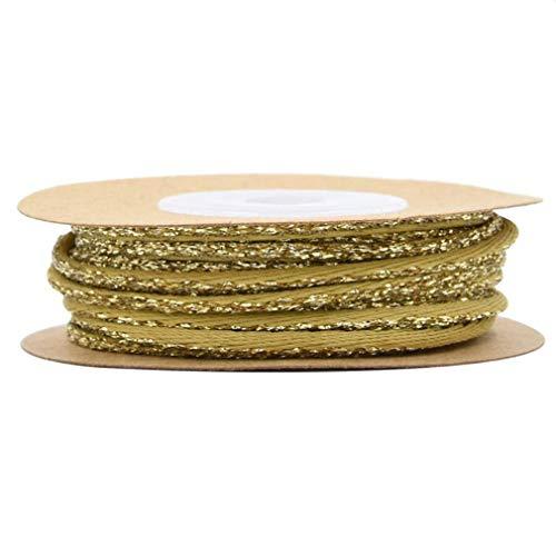 #N/A Sawyerda - Cinta de regalo para decoración de Navidad, color dorado