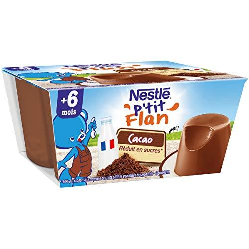 NESTLÉ Bébé - P'tit Flan - Chocolat - Laitage dès 6 mois - 4 x 100g - Pack de 6 ( 24 Laitages )
