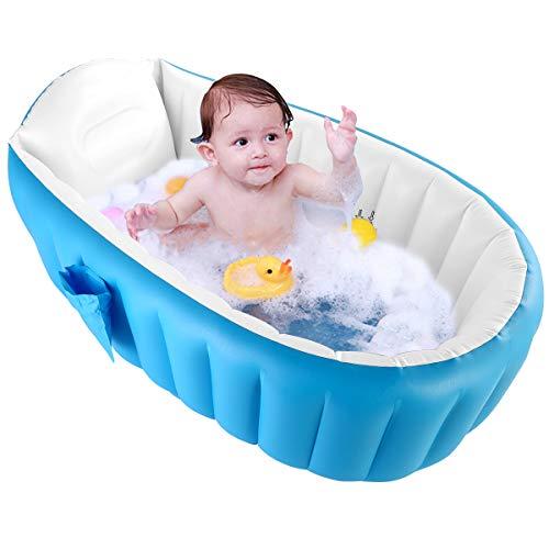 HelloCreate Baby Opblaasbare Badkuip, Vouwen Draagbare Mini Air Zwembad Douche voor 0-3 jaar Baby Blauw