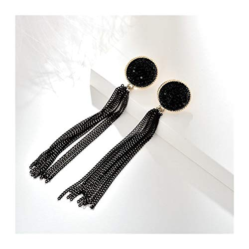 LUOSI Vintage Long Chain Tassel Clip Earrings Gold Maxi Hanging Ear Clips For Women Without Piercing Earrings Party (Metal Color : Clip)