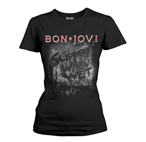 Bon Jovi Slippery When Wet Girl-Shirt schwarz XL