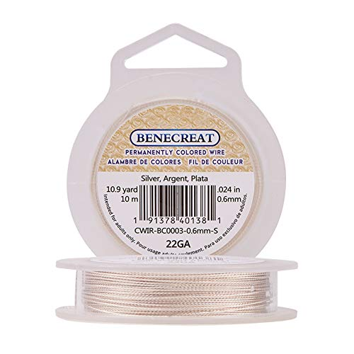 BENECREAT 22 Gauge Tarnish Resistant Twist Silver Jewelry Wire for Necklace Bracelet Making and Other Handmade Project, 33-Feet/11-Yard