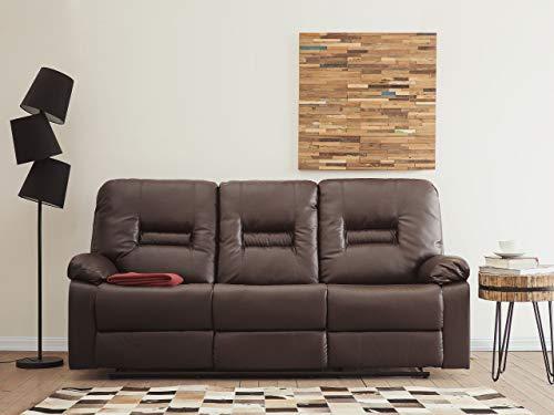 Klassischer 3-Sitzer Sofa Kunstleder braun verstellbar Bergen